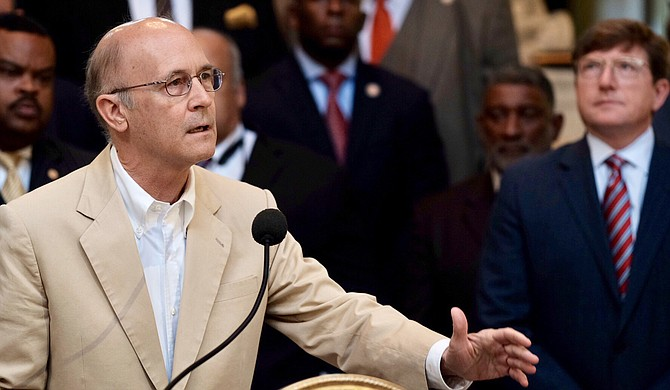 Democratic Sen. Hob Bryan of Amory criticized Republicans at a press conference at the Capitol on Aug. 23 for prior tax cuts as the legislature considered an infrastructure bill that would be funded by sports betting, the Internet sales tax and a state lottery.