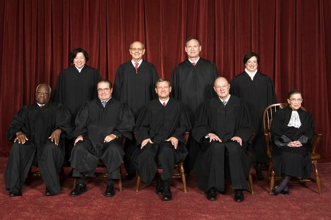 The Supreme Court of the United States: Top row (left to right): Associate Justice Sonia Sotomayor, Associate Justice Stephen G. Breyer, Associate Justice Samuel A. Alito, and Associate Justice Elena Kagan. Bottom row (left to right): Associate Justice Clarence Thomas, Associate Justice Antonin Scalia, Chief Justice John G. Roberts, Associate Justice Anthony Kennedy, and Associate Justice Ruth Bader Ginsburg. Photographed in 2010.