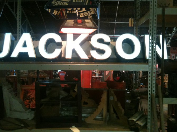 A vintage Jackson sign in the Flowood Flea Market's salvage section would be perfect in the right space.