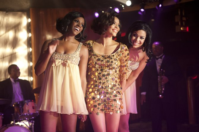 "Sister (Carmen Ejogo), Dee (Tika Sumpter) and Sparkle (Jordin Sparks) shine most in the musical numbers from the Whitney Houston-produced ""Sparkle."""