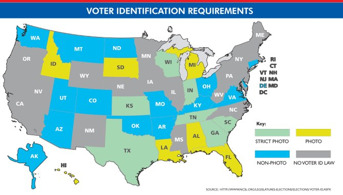 Thirty states have enacted laws that require citizens to present identification at the ballot box. With just over two months left before the Nov. 6 general election, its possiblealthough it appears less likely as Election Day draws nearthat several more states could join that list. New Hampshire, Wisconsin and Mississippi all recently passed a voter ID law although the requirement has not bee implemented in any of those states. Mississippi, which has to obtain special permission to alter its voting laws, now awaits word from the U.S. Department of Justice on whether voter ID can take effect. The U.S. DOJ rejected voter ID in Texas and South Carolina. This map shows the nations 33 voter ID laws by strictness and whether the required voter ID must include a photo.