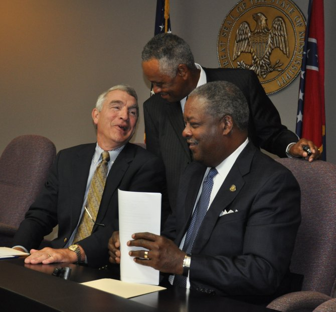 "Levee Board members Flowood Mayor Gary Rhoads, developer Socrates Garrett and Jackson Mayor Harvey Johnson Jr. are all singing the same tune, in support of a ""One Lake"" flood-control plan."