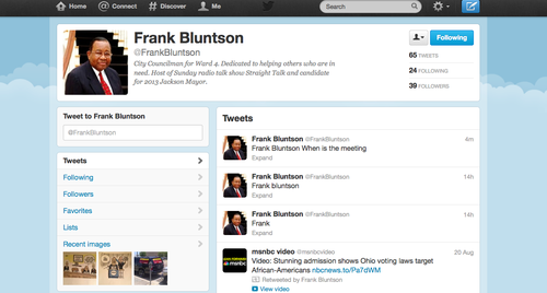 Ward 4 Councilman Frank Bluntson&#39;s last three tweets as of 1:30 p.m. Sept. 25. 