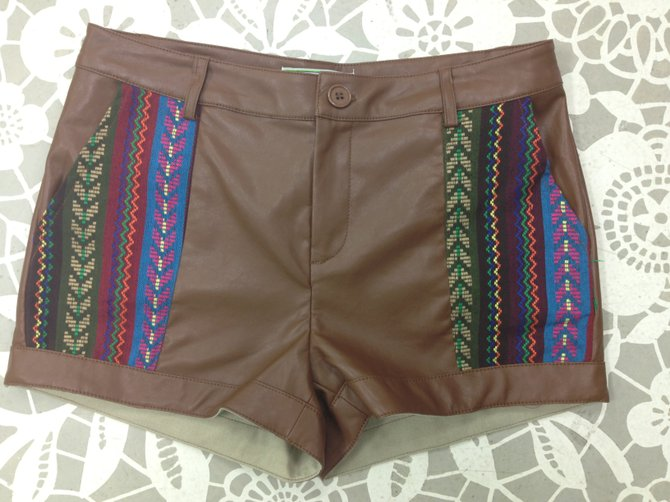 Leather shorts with tribal detail, Paperdoll Boutique, $36.95
