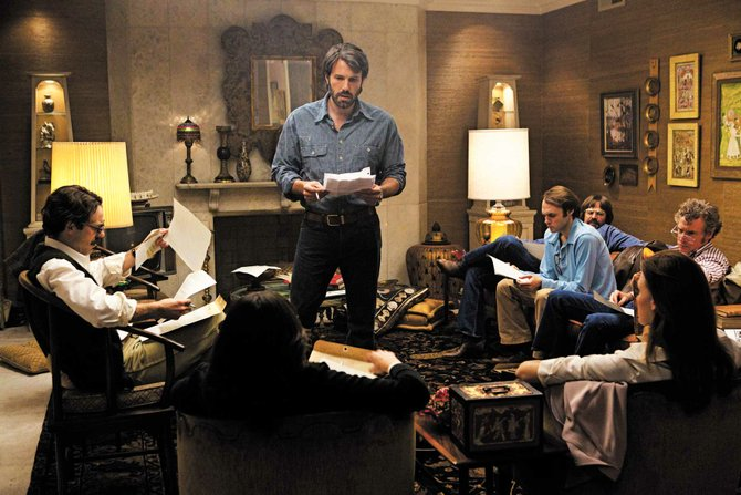 "Ben Affleck (center) directed and stars in ""Argo"" which weaves together espionage, Hollywood mystique and '70s flair."