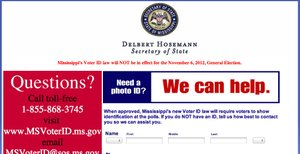 screengrab - Secretary of State Voter ID page, 2pm 10/19/12