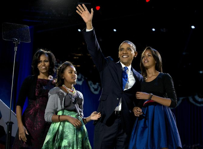 President Barack Obama was re-elected on November 6, 2012. Here he is surrounded by his family at his party in Chicago, IL.