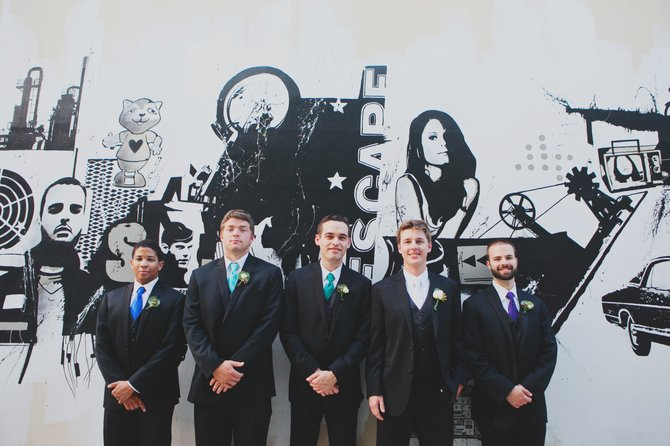 In the past, groomsmen and the best man were chosen based on their skill with a weapon. Pictured from left to right are David Williams, Creighton Nelms, best man Chris Awwad, groom Brian Mitchell and Andrew Olinger, from Mitchell's wedding in May.