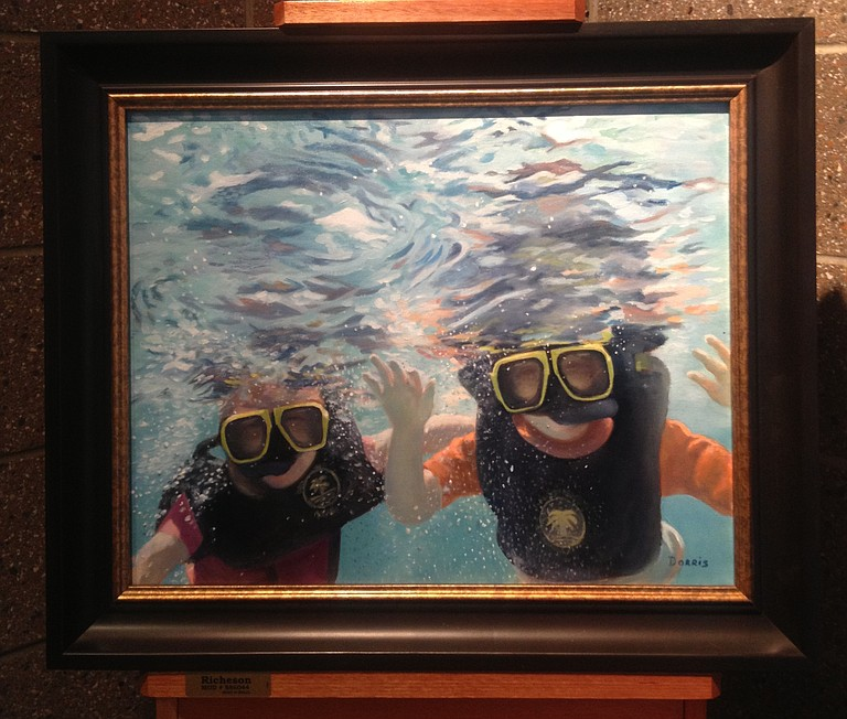 """B.J. Dorris' """"Jewels of the Sea"""" is one of more than 50 paintings on display at the Mississippi Library Commission."""
