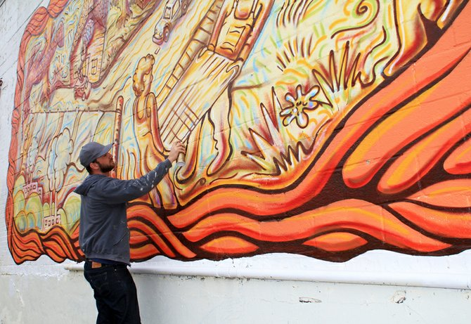 Scott Allen&#39;s mural is the first of new public art hitting Midtown soon.