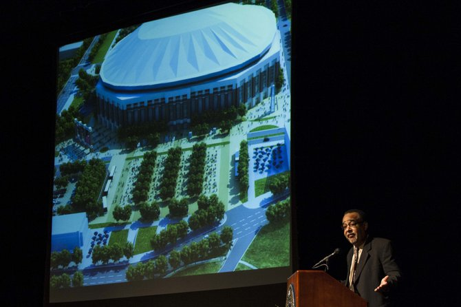 JSU Vice President of Institutional Advancement David Hoard unveiled artist renderings of the proposed $200 million dome stadium Feb. 27.