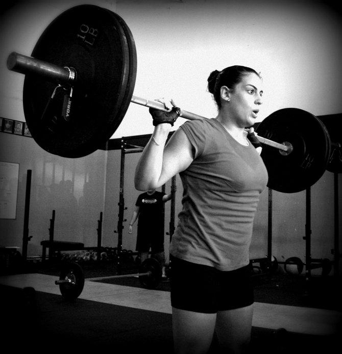 CrossFit follows nine fundamental movements, including squat, front squat, overhead squat, standard shoulder press, push press, jerk, dead lift, sumo dead lift and clean.