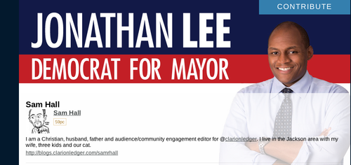 We ran into this on the Jonathan Lee campaign site today. We have no idea why it's there.