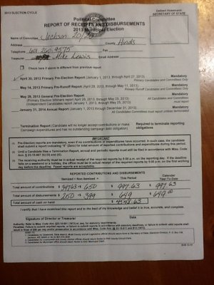 The first page of an as-yet-unfiled campaign report from the Jackson 20/20 PAC.