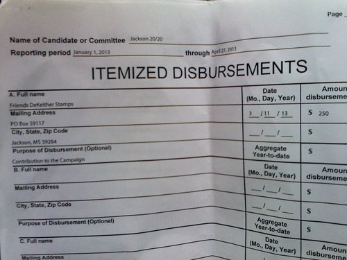 The disbursement page of the 20/20 PAC report.