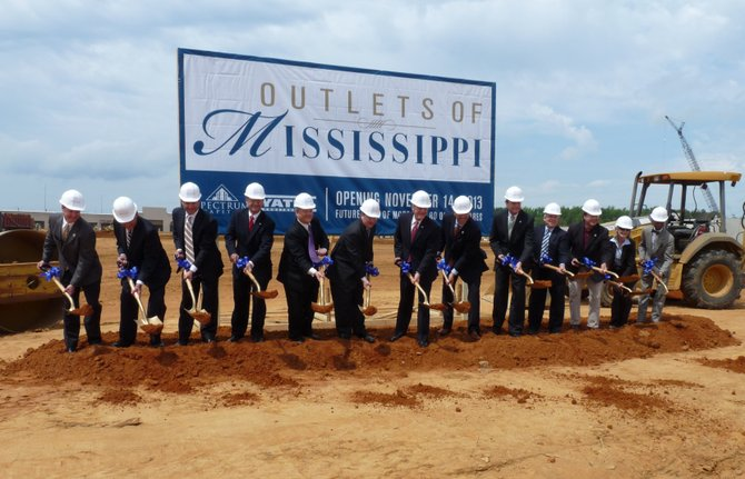 Governor Phil Bryant, Lt. Gov. Tate Reeves, House Speaker Philip Gunn, Pearl Mayor Brad Rogers and other elected officials gathered for a ceremonial groundbreaking on the Outlets of Mississippi this morning in Pearl.