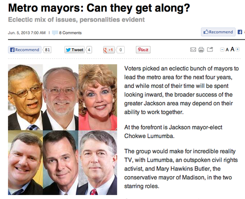 The top story on The Clarion-Ledger's website the morning after Chokwe Lumumba's historic mayoral win.
