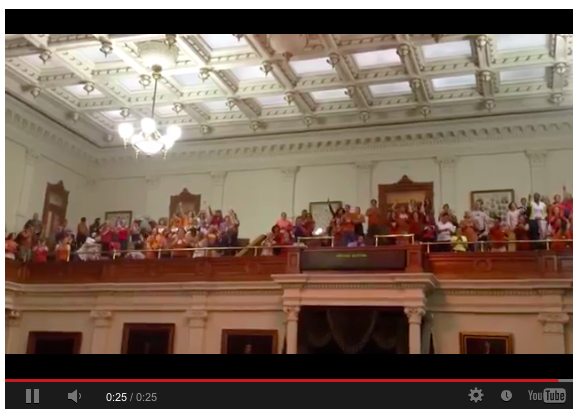 Gallery of Texas Senate chamber cheers and claps for 15 minutes.