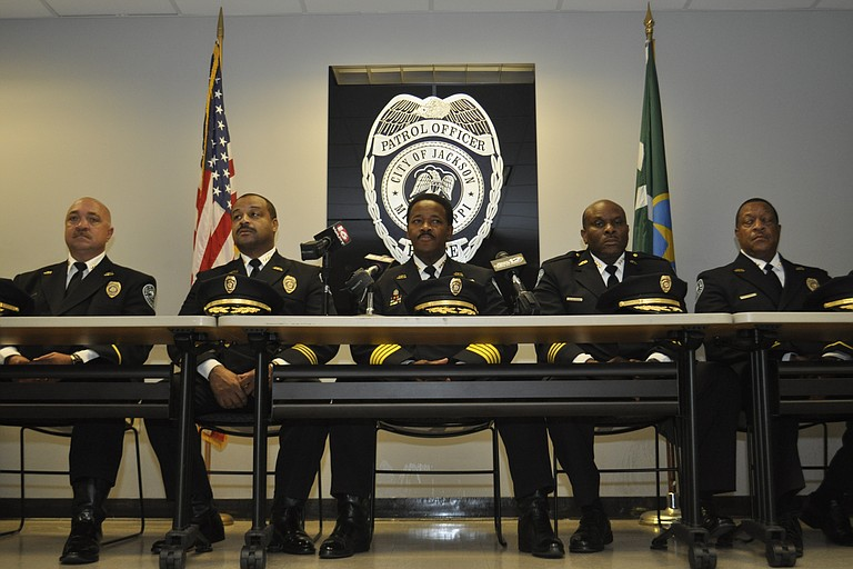 Chief Lindsey Horton (center) and his new command staff.