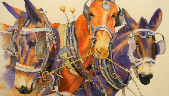 """Sue Wellington's """"Just Hitched"""" is one of many multicolored watercolors on display at Hinds Community College now."""