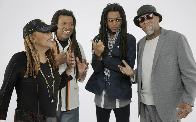 Black Sun collective is (left to right) Cassandra Wilson, Melvin Gibbs, Brandon Ross and J.T. Lewis. The group performs Nov. 15 and 16 at Yellow Scarf.