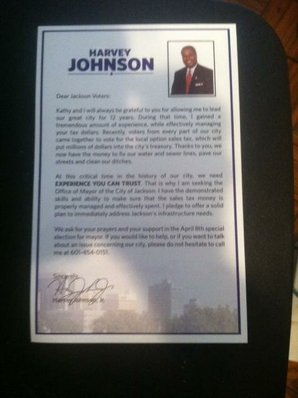Someone forwarded this letter, apparently from former Mayor Johnson, saying he is running for mayor in the April 8 special election.