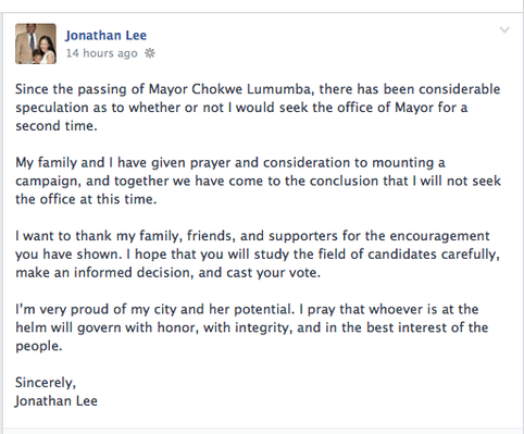 Jonathan Lee announced on Facebook that he will run in the mayoral special election.