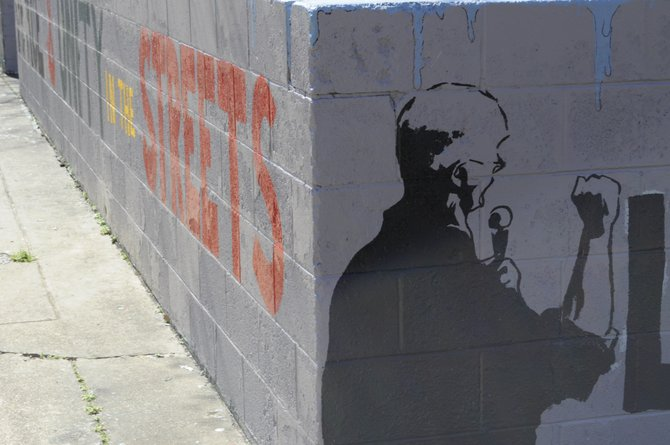 A now-removed mural honoring late Mayor Chokwe Lumumba.