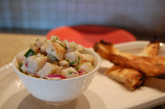 Ceviche is a traditional Peruvian fish dish that combines sweet, sour and spice.