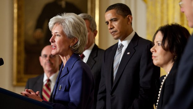 Kathleen Sebelius' (left) resignation sent a clear signal that the White House is seeking to turn the page on a difficult stretch for a law that remains unpopular with much of the American public.
