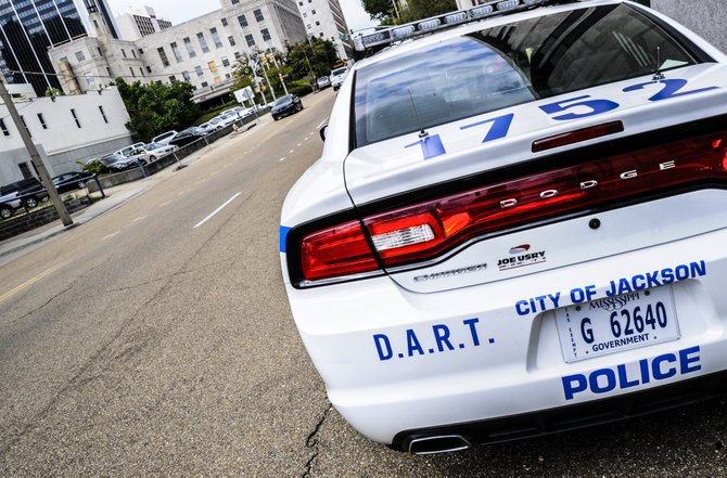 A DART patrol car parked on West Street in downtown Jackson.