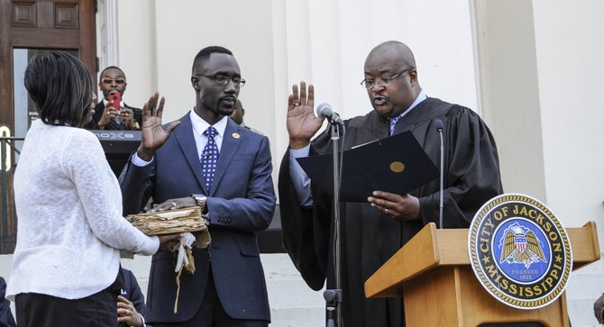 At 10 a.m. on April 24, 2014,, in Josh Halbert Gardens on the west side of City Hall, Hinds County Justice Court Judge Frank Sutton administered the oath to  Tony Yarber after remarks from Charles Tillman, the Ward 5 councilman who filled in as mayor after Lumumba's death, and a prayer from Rev. C. J. Rhodes.