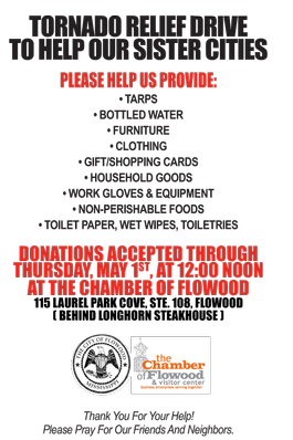 Items the Flowood Chamber is collecting.