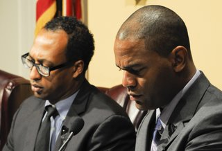 Jackson City Councilmen Melvin Priester Jr. (left) and De'Keither Stamps say big questions remain with the operation of new electronic water meters the city has installed in 10,000 homes.