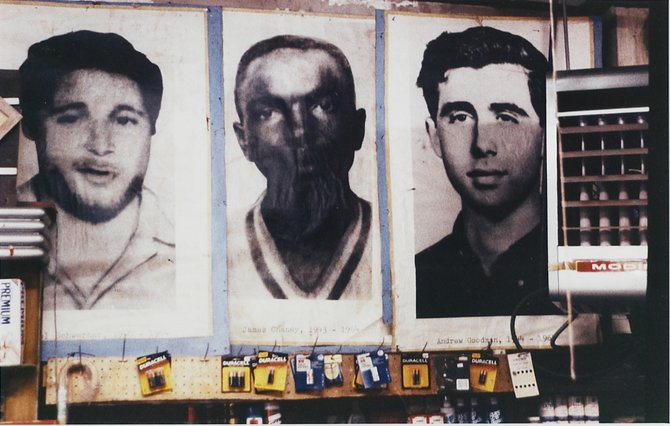 """A piece included in Mississippi Museum of Art's """"Icons of Freedom"""" exhibit features images of James Chaney, Andrew Goodman and Michael Schwerner."""