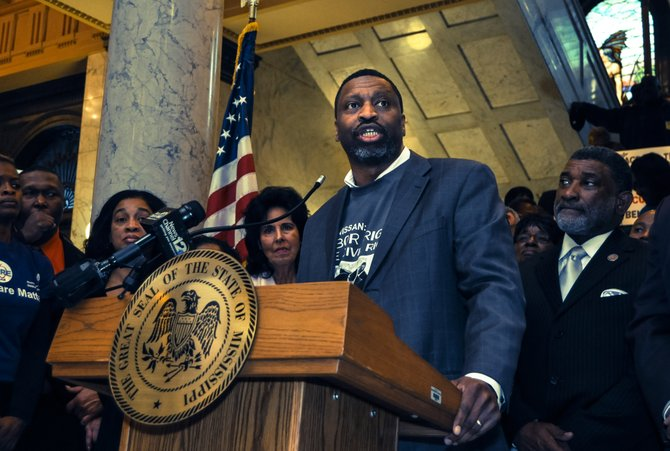 Back in May, Mississippi NAACP President Derrick Johnson and several other black legislators stood alongside HRC President Chad Griffin at the Mississippi Capitol, where Johnson addressed SB 2681.