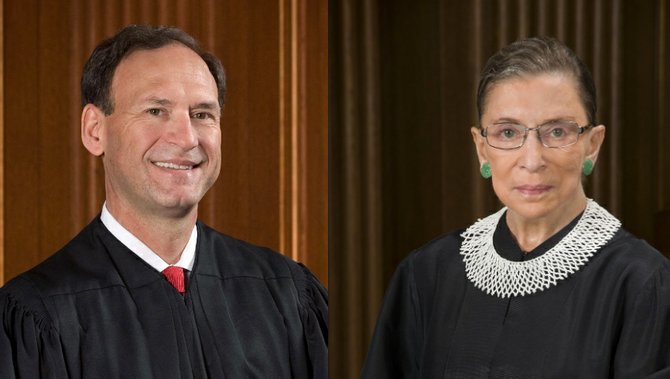 Justices Samuel Alito (left) and Ruth Bader Ginsburg