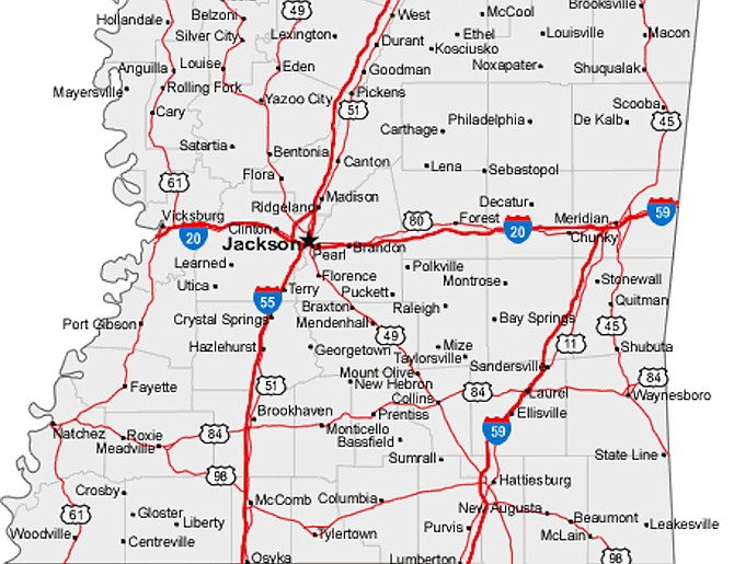 Mississippi Map With Cities Highways Car Tuning