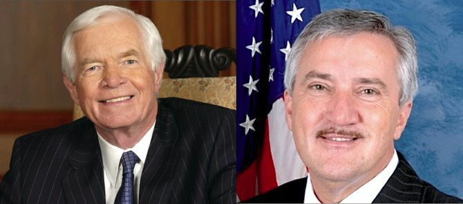U.S. Rep. Travis Childers (right) took aim at Republicans leaders for refusing to participate in Medicaid expansion that would give an additional 300,000 Mississippians affordable health insurance and calling for an increase to the minimum wage, now $7.25 an hour. Republican U.S. Sen. Thad Cochran addressed the health-care issue by saying government control is not the answer to providing Mississippi citizens with affordable medical care and pointing out that he voted to repeal the federal Affordable Care Act.