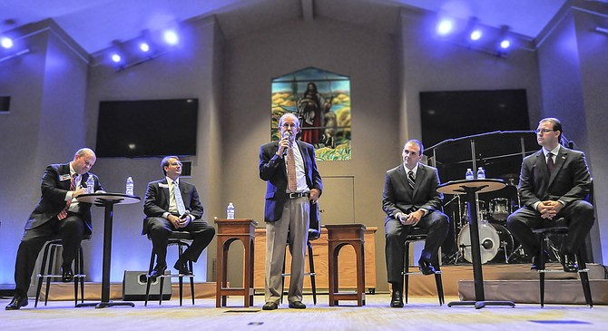 Each of the five candidates gathered to answer questions at Bellwether Church in Northeast Jackson about issues ranging from education to economic development to infrastructure. From left to right, Charles Barbour, Dorsey Carson, Ashby Foot, Richard Sellers and Amile Wilson.