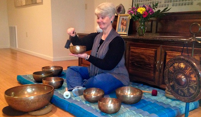 At Tara Yoga's Restorative Yoga, Carol Parks often sets up her singing bowls to accompany the class. Photo courtesy Tara Blumenthal