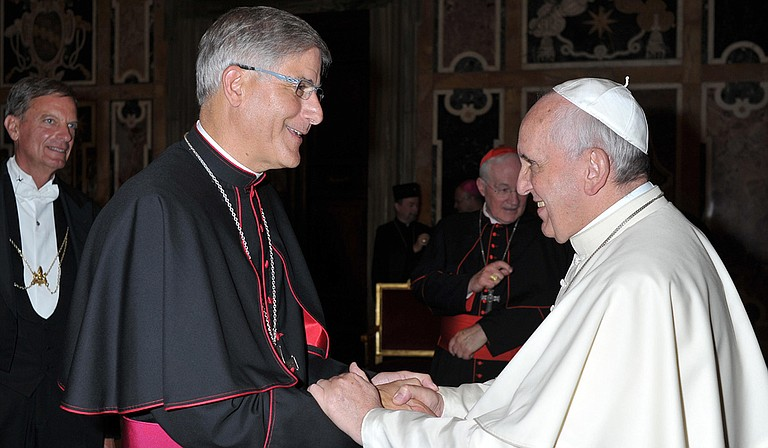 Bishop Kopacz (left) with Pope Francis (right) Photo courtesy L'Osservatore Romano, Catholic News Service