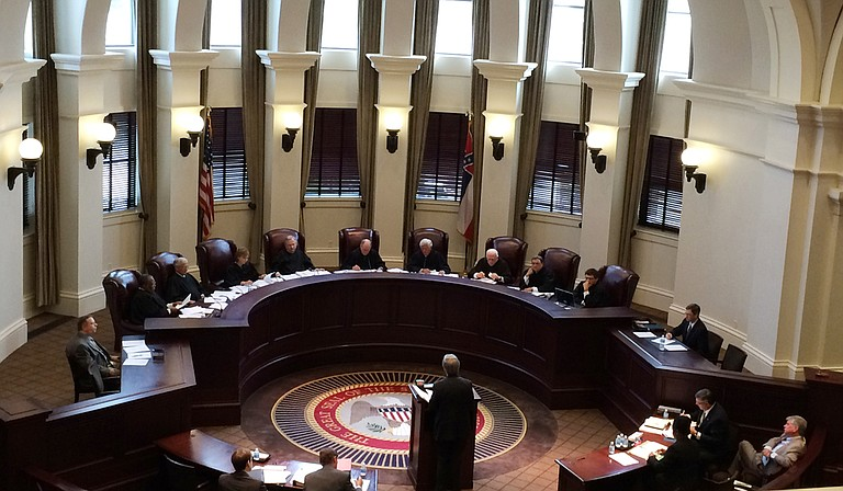 James A. Keith presents the argument for Adrian Shipman to the Mississippi Supreme Court on Tuesday, June 9. Photo courtesy Arielle Dreher