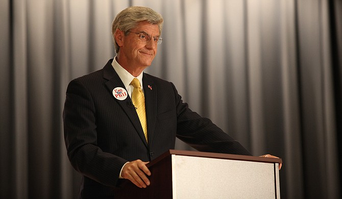 Republican Gov. Phil Bryant said Monday that the Mississippi Legislature is not likely to override voters who decided to keep the Confederate emblem on the state flag by a 2-to-1 margin in 2001. Photo courtesy Amile Wilson/File Photo