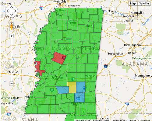 Counties In Mississippi Are Not Issuing SameSex Marriage - Counties in ms map
