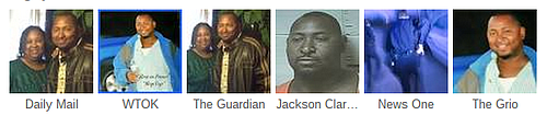 A screenshot of photos of Jonathan Sanders, killed Wednesday night by a white police officers, used by various media outlets.
