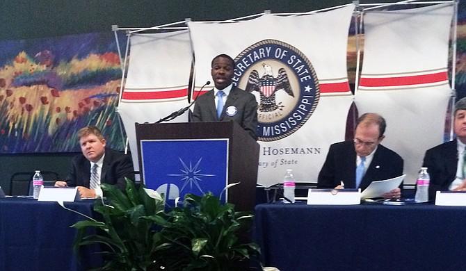 Jarrius Adams speaks at a public forum about Initiative 42. Photo courtesy Liz Allen