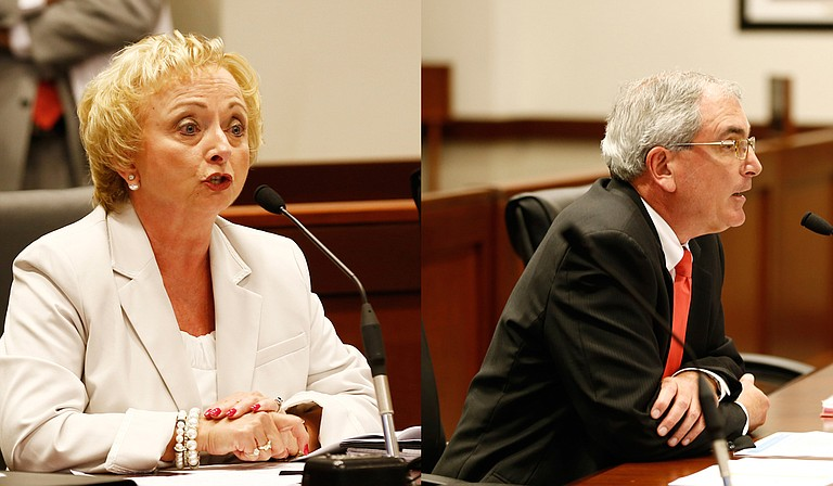 Superintendent Carey Wright (left) asked the Joint Legislative Budget Committee for $2.8 billion for the next fiscal year. Dr. David Dzielak (right) said the Mississippi Division of Medicaid has one of the lowest administrative costs in the country.