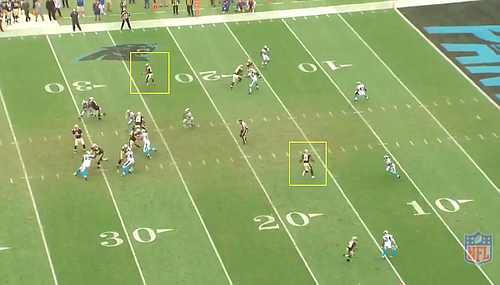 McCown missed open receivers Ingram and Colston, passing into the endzone for an interception. (screen cap courtesy NFL)