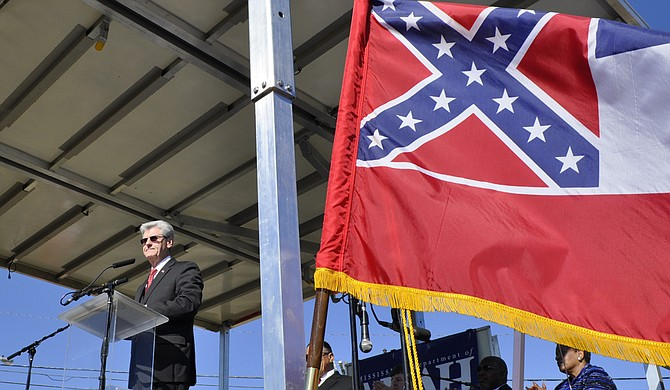 "Last week, Gov. Phil Bryant said, ""College students react a lot emotionally,"" in response to the University of Mississippi student senate's decision to bring down the state flag on campus, before the university administration confirmed their decision. Trip Burns/File Photo"